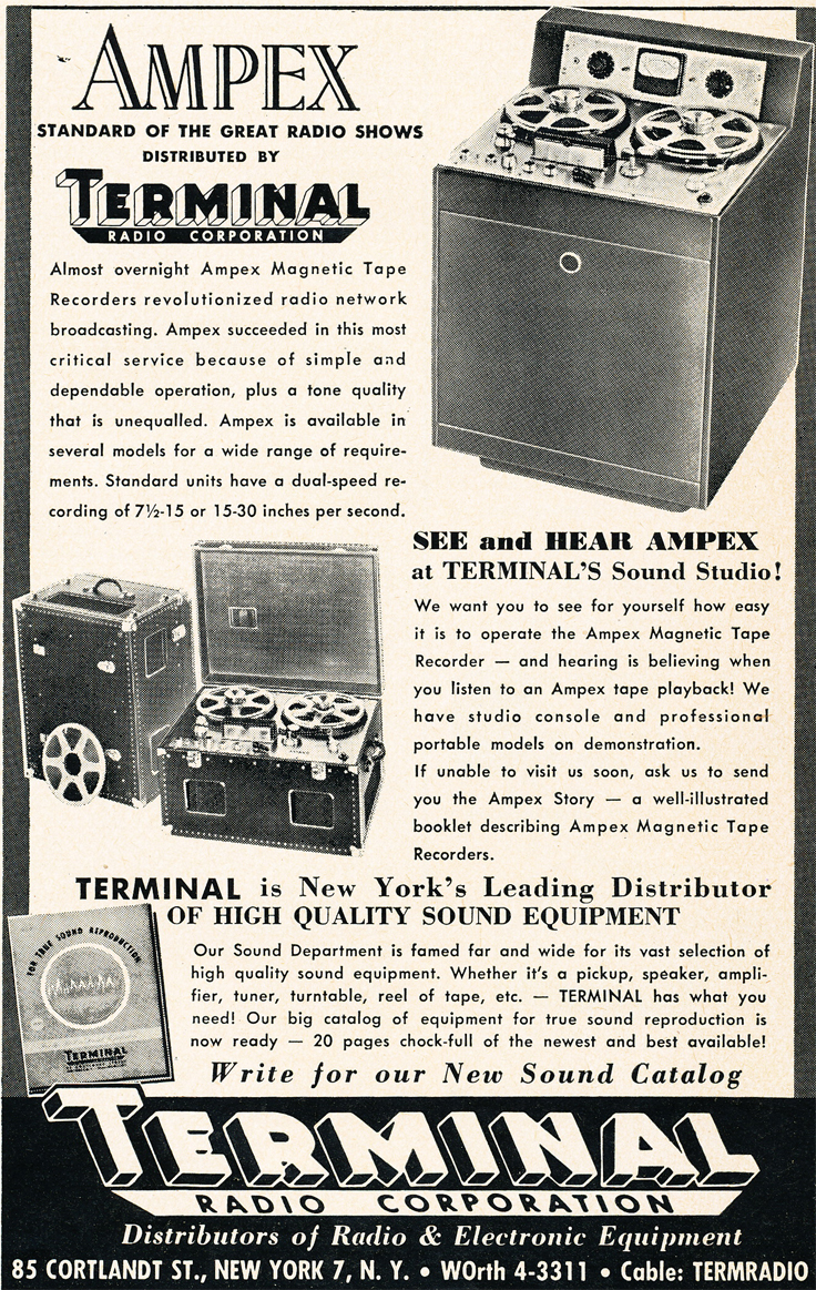1950 Terminal ad for Ampex professional reel to reel tape recorders in Reel2ReelTexas.com's vintage recording collection