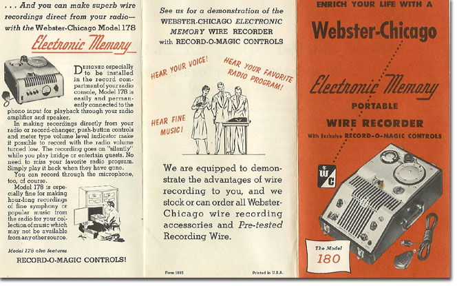 picture of 1950 Webster Chicago 180 brochure