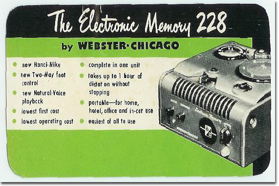 picture of 1950 Webster Chicago 228 literature