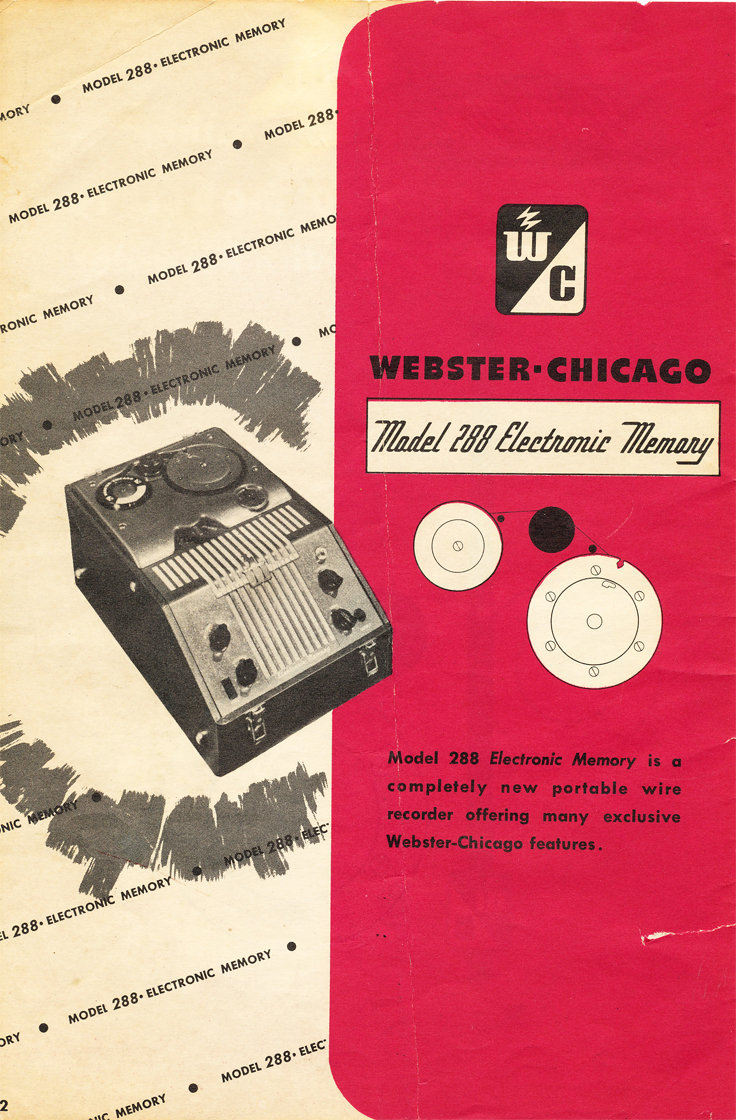 Instruction manual for the Webster Chicago 288 wire recorder in Reel2ReelTexas.com's vintage recording collection