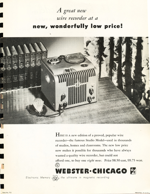 1950 Webster Chicago Studio Model ad  in Reel2ReelTexas.com's vintage recording collection