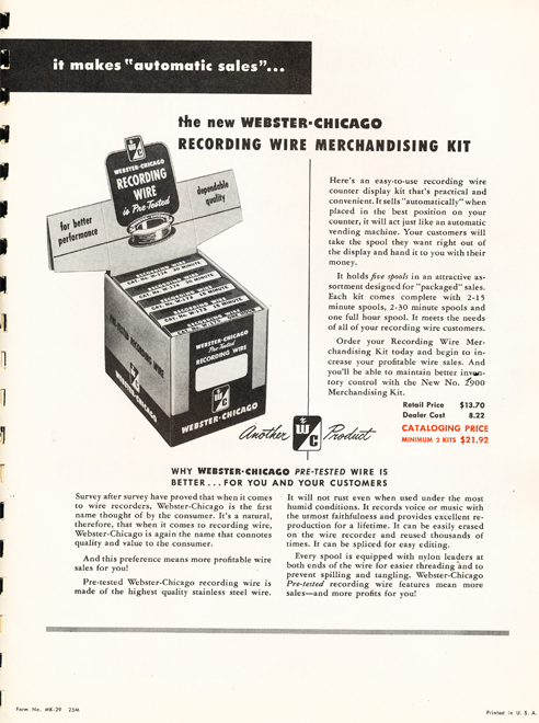 1950 Webster Chicago  wire ad  in Reel2ReelTexas.com's vintage recording collection