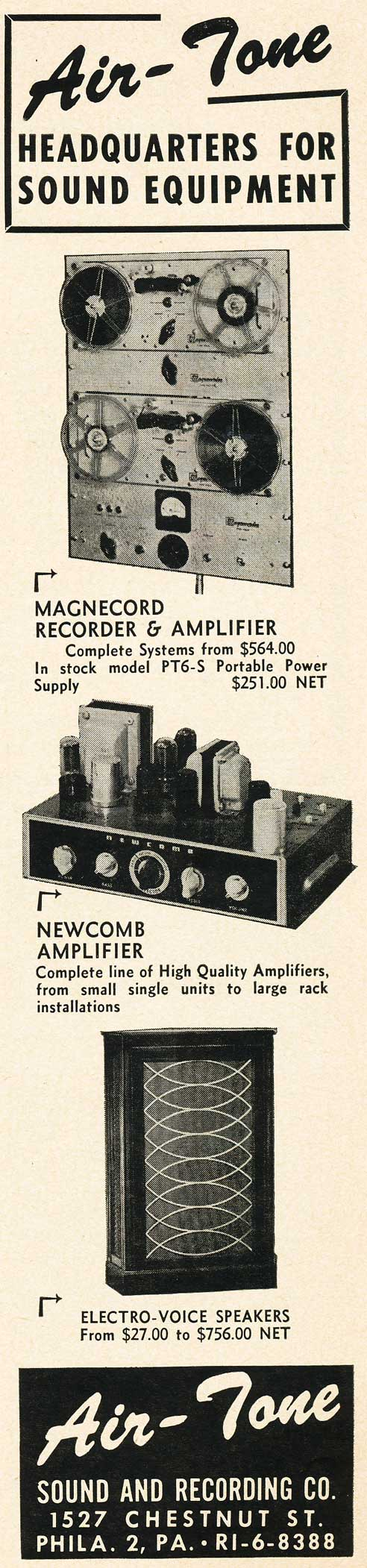 1951 AirTone ad advertising Magnecord recorders in Reel2ReelTexas.com's vintage recording collection