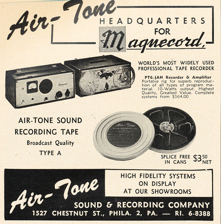 1951 AirTone ad advertising Magnecord recorders and professional reel to reel recording tape in Reel2ReelTexas.com's vintage recording collection
