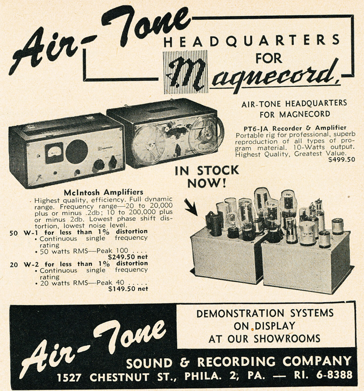 1951 AirTone ad advertising Magnecord recorders and McIntosh amplifiers  in Reel2ReelTexas.com's vintage recording collection