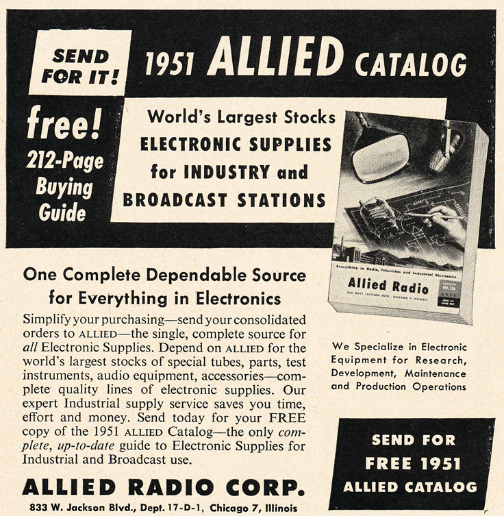 1951 ad for the Allied radio catalog