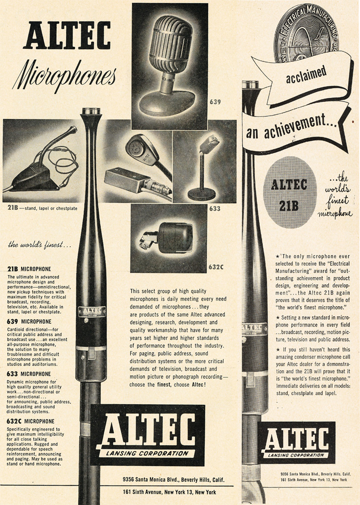 1951 Altec microphone ad in   Reel2ReelTexas.com's vintage recording collection