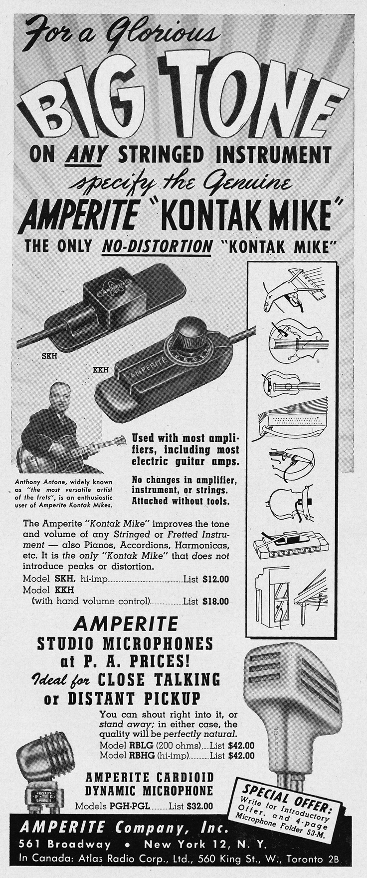 1951 ad for Amperite Studio microphones in   Reel2ReelTexas.com's vintage recording collection
