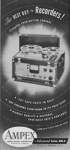 1951 Ampex 400-A  reel tape recorder ad in Reel2ReelTexas.com's vintage recording collection
