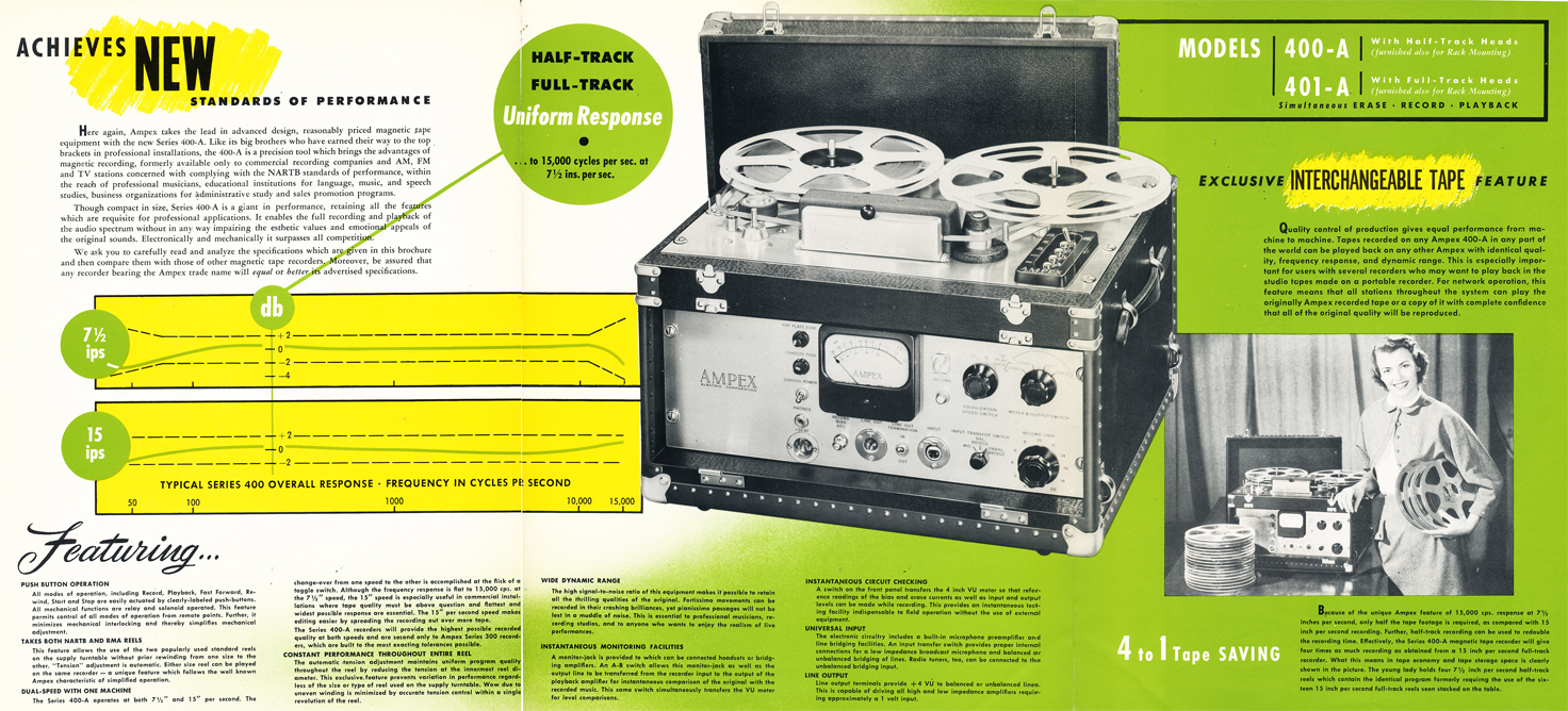 1951 brochure for the Ampex 400-A  reel tape recorder  in Reel2ReelTexas.com's vintage recording collection