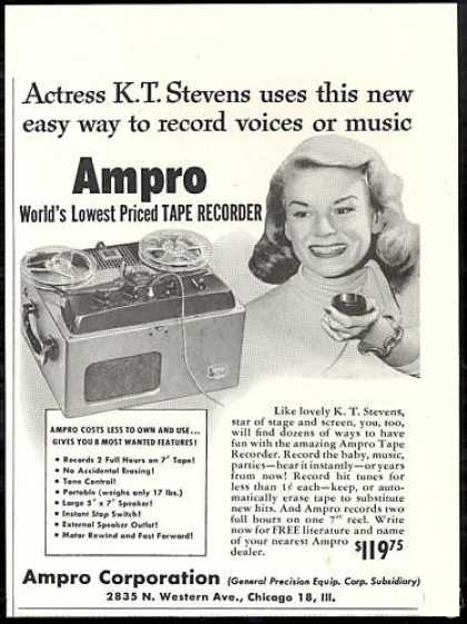 1951 Ampro ad in the Phantom Productions' vintage recording collction