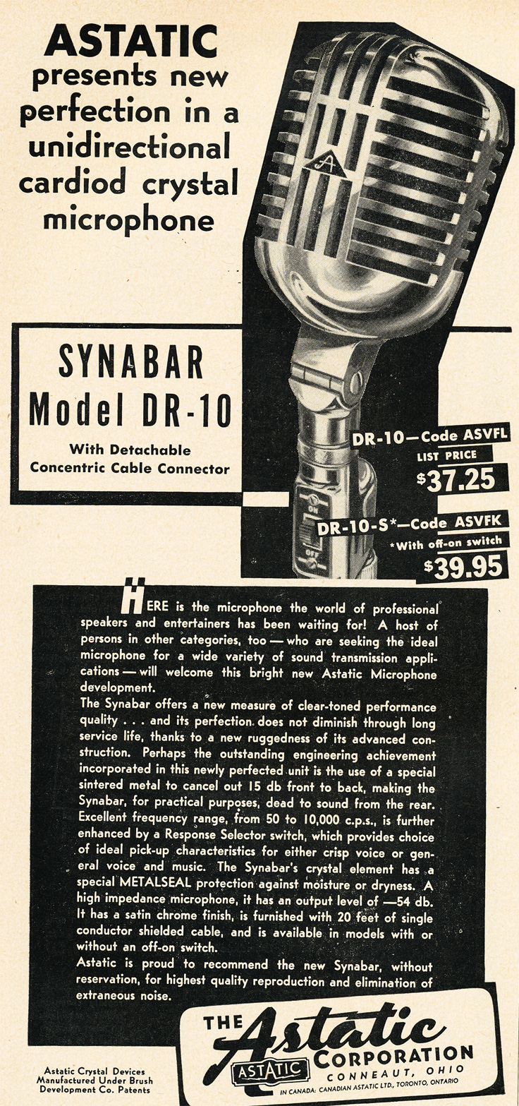 1951 ad for the Astatic DR-10 microphone in Reel2ReelTexas.com's vintage recording collection