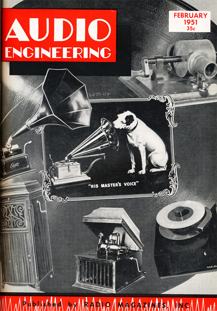 cover of the 1951 February issue of the Audio Engineering magazine in Reel2ReelTexas.com's vintage recording collection