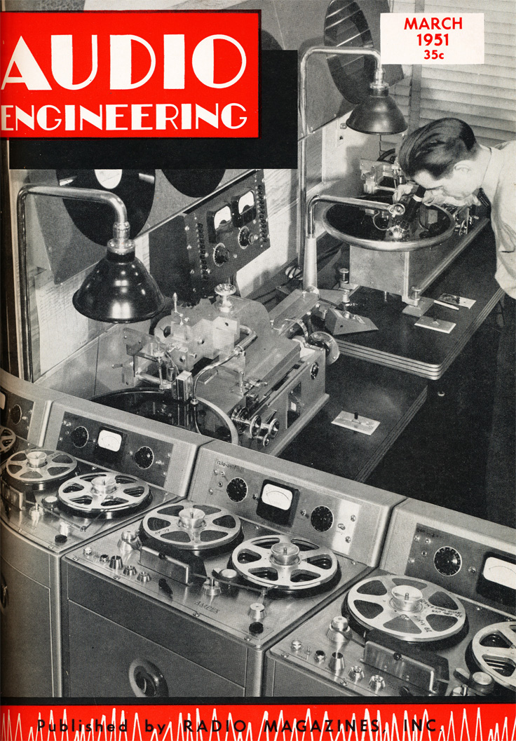 cover of the 1951 March issue of the Audio Engineering magazine in Reel2ReelTexas.com's vintage recording collection