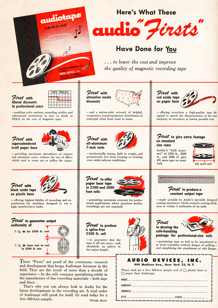 1951 Audio Devices tape ad  in Reel2ReelTexas' vintage recording collection