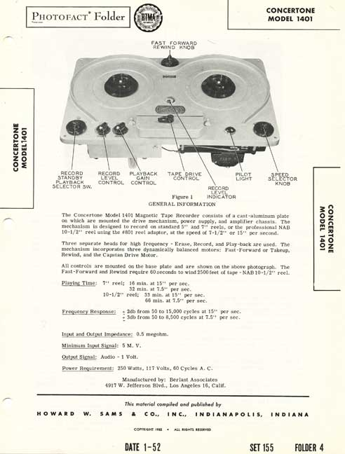 Concertone 1401 reel tape recorder info in Reel2ReelTexas.com's vintage recording collection