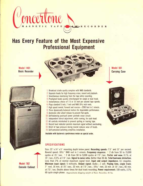 1951 ad for the Berlant Concertone 1401 reel to reel tape recorder in Reel2ReelTexas.com's vintage recording collection