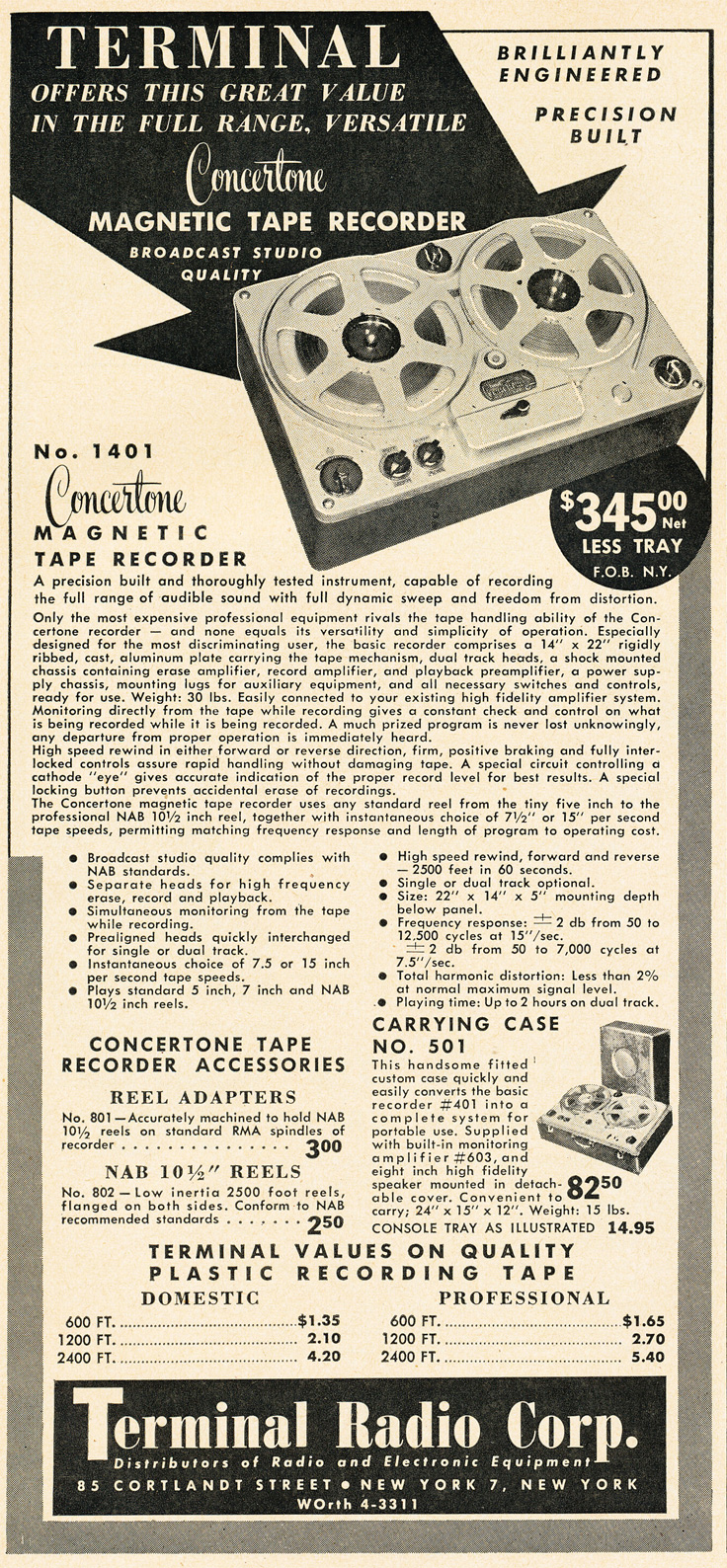 1951 ad for the Terminal Radio Corporation featuring Concertone reel to reel tape recorders in   Reel2ReelTexas.com's vintage recording collection