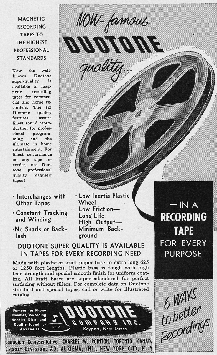 1951 DuoTape ad in Reel2ReelTexas.com's vintage recording collection
