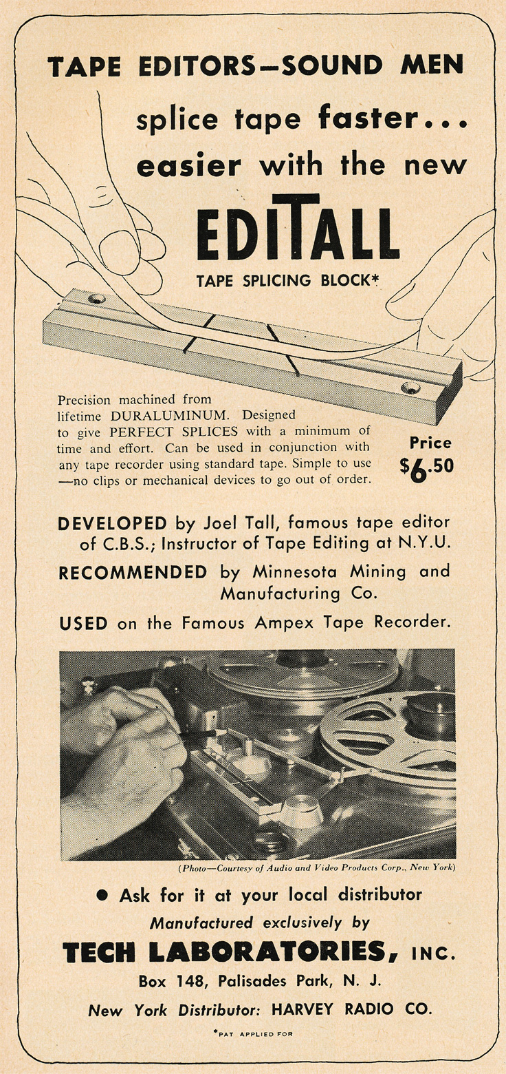 1951 ad for the EdiTall reel to reel tape splicer in   Reel2ReelTexas.com's vintage recording collection