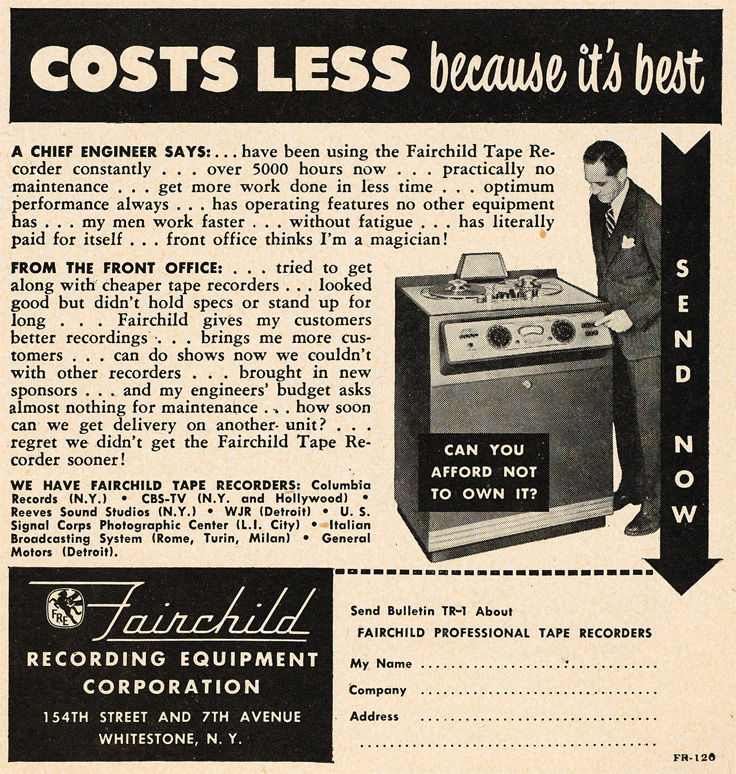 1951 ad for Fairchild reel to reel tape recorders in Reel2ReelTexas' vintage recording collection