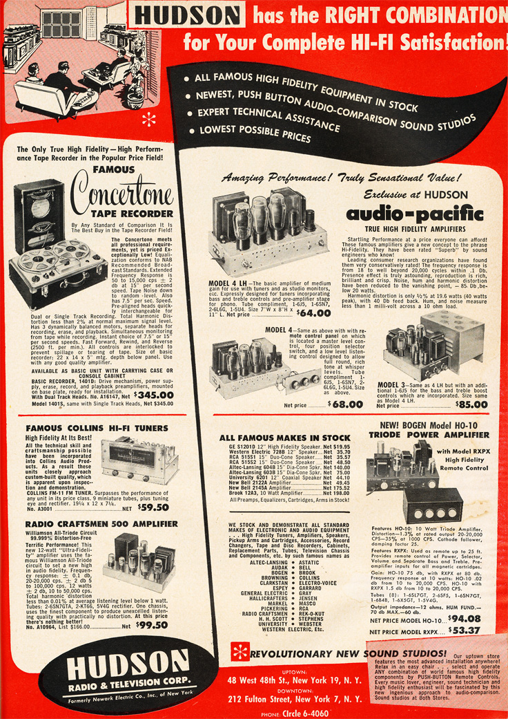 1951 Hudson ad featuring Concertone reel to reel tape recorders in Reel2ReelTexas.com's vintage recording collection