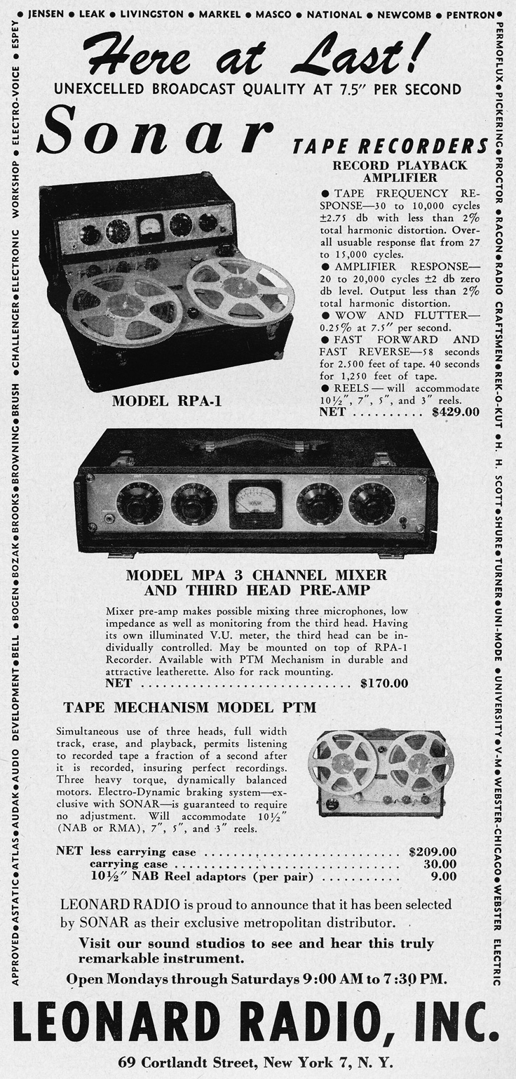 1951 ad for Leonard Radio products in the Audio Engineering magazine in Reel2ReelTexas.com's vintage recording collection