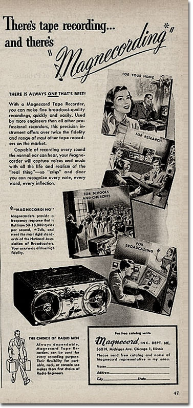 picture of 1951 Magnecord tape recording ad