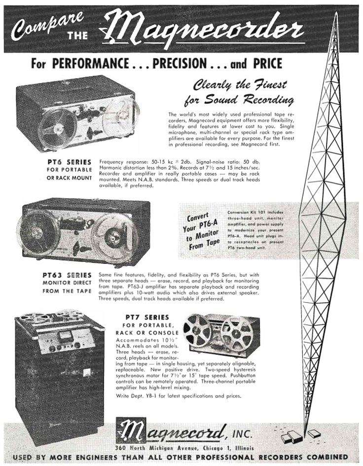 1951 ad for the Magnecord PT-6 reel to reel tape recorder in Reel2ReelTexas.com's vintage recording collection