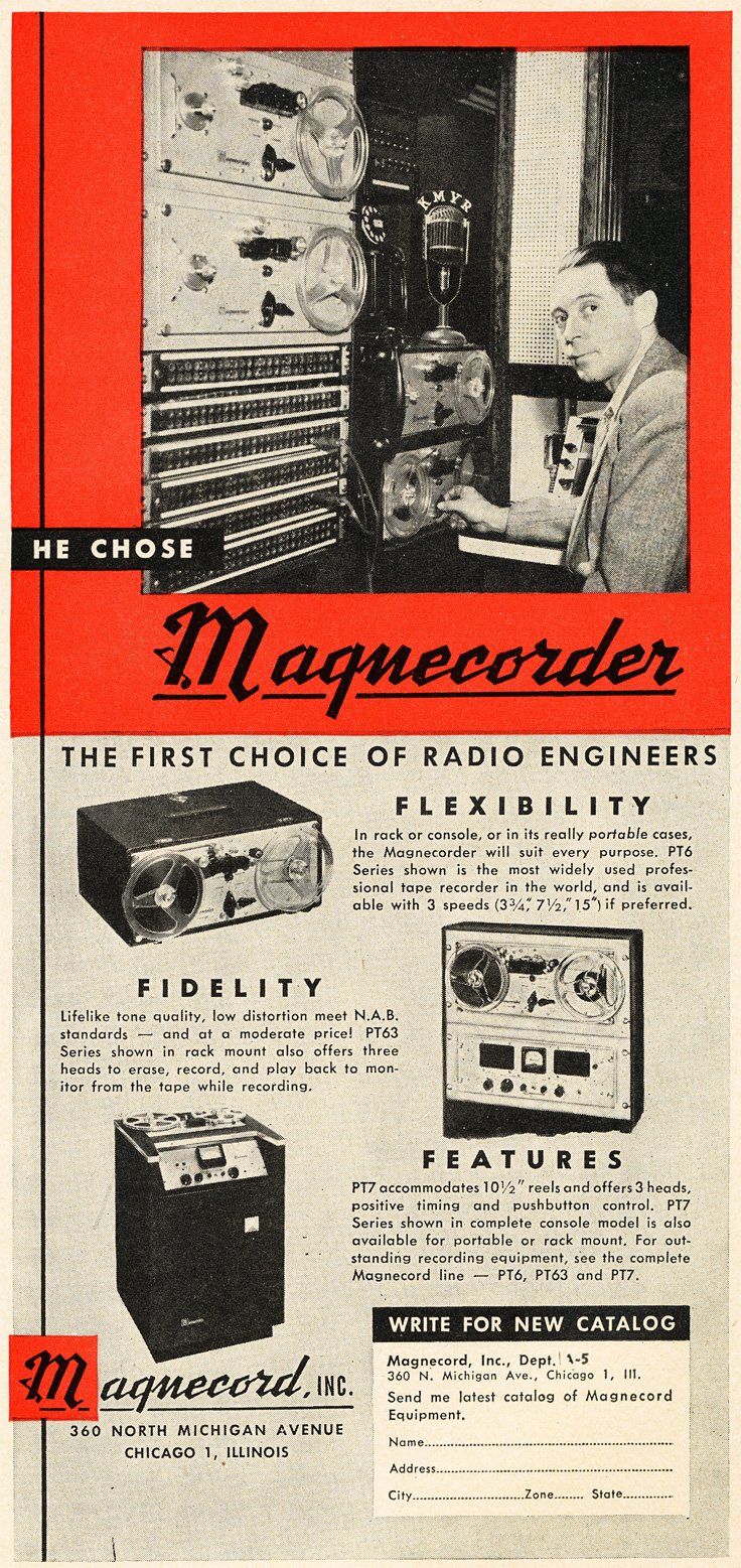 1951 ad for the Magnecord Magnecorder reel to reel tape recorder in Reel2ReelTexas.com's vintage recording collection