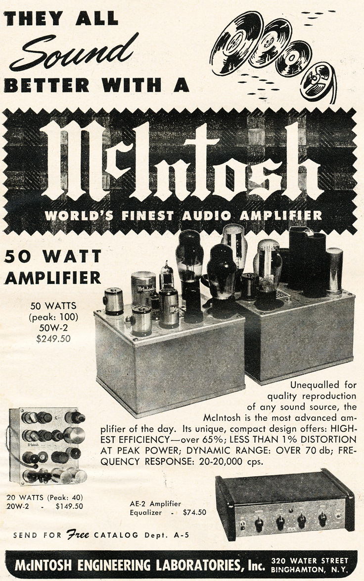 1951 ad for McIntosh tube amplifiers in Reel2ReelTexas.com's vintage recording collection