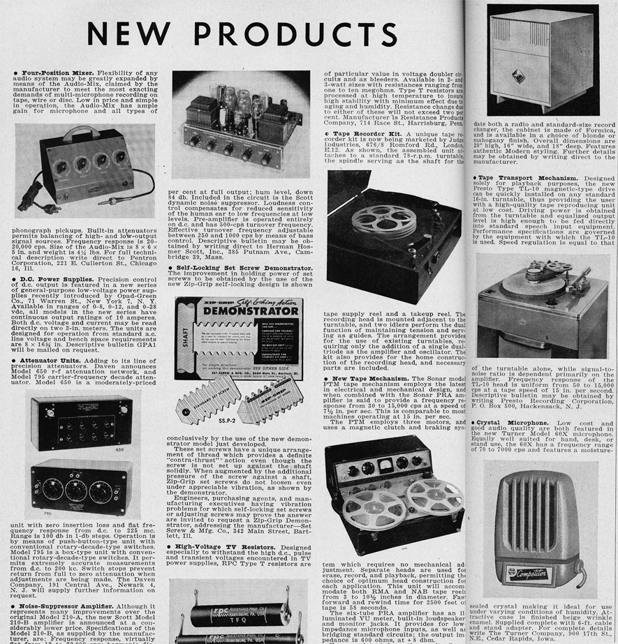 1951 listing of new products in the Audio Engineering magazine in Reel2ReelTexas.com's vintage recording collection