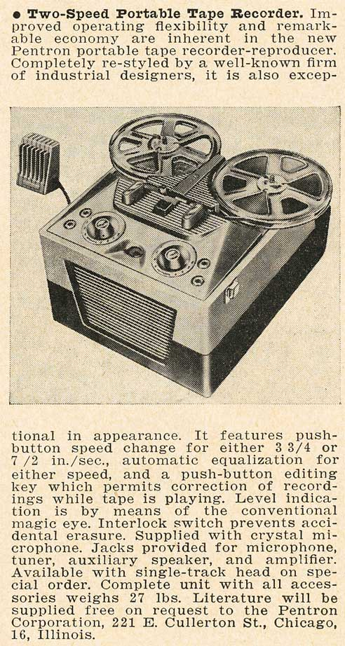 1951 Pentron reel tape recorder write-up in Reel2ReelTexas.com's vintage recording collection