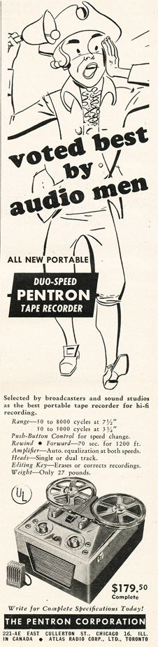 1951 Pentron reel tape recorder ad in Reel2ReelTexas.com's vintage recording collection