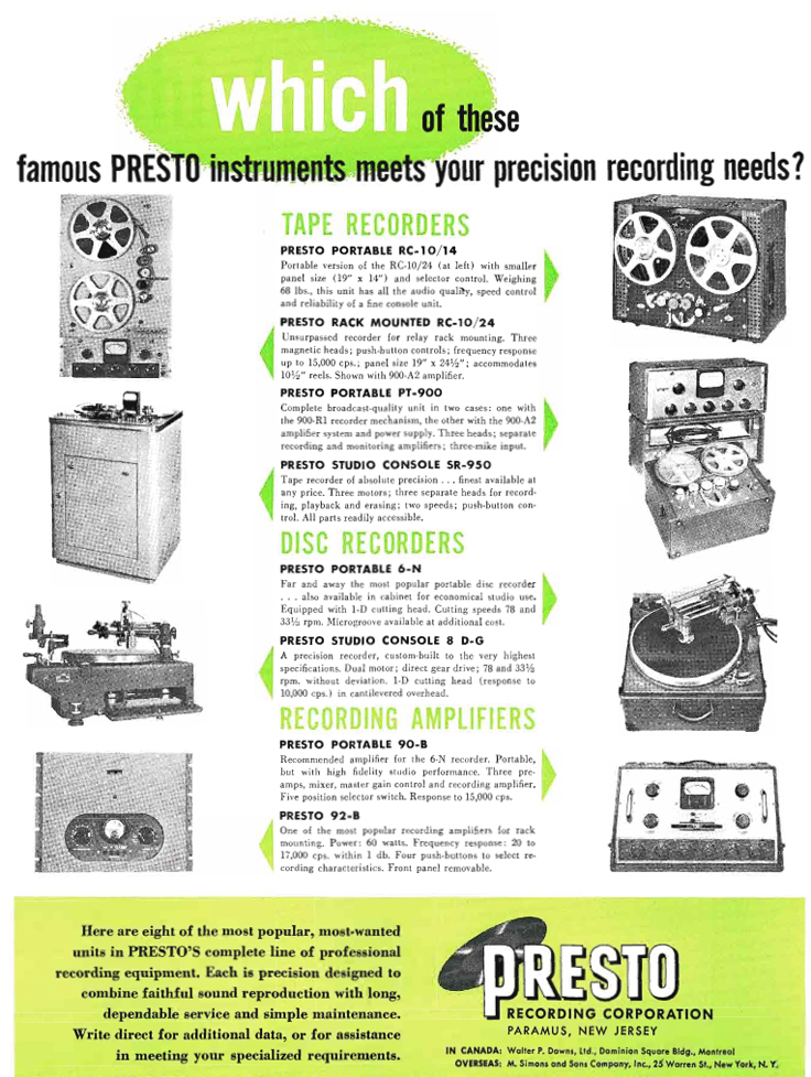 Presto ads from 1951 in the Museum of Magnetic Sound Recording