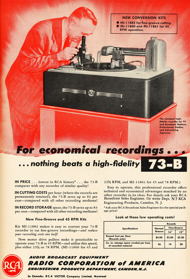 1951 ad for the RCA 73-B record cutter in Reel2ReelTexas.com's vintage recording collection