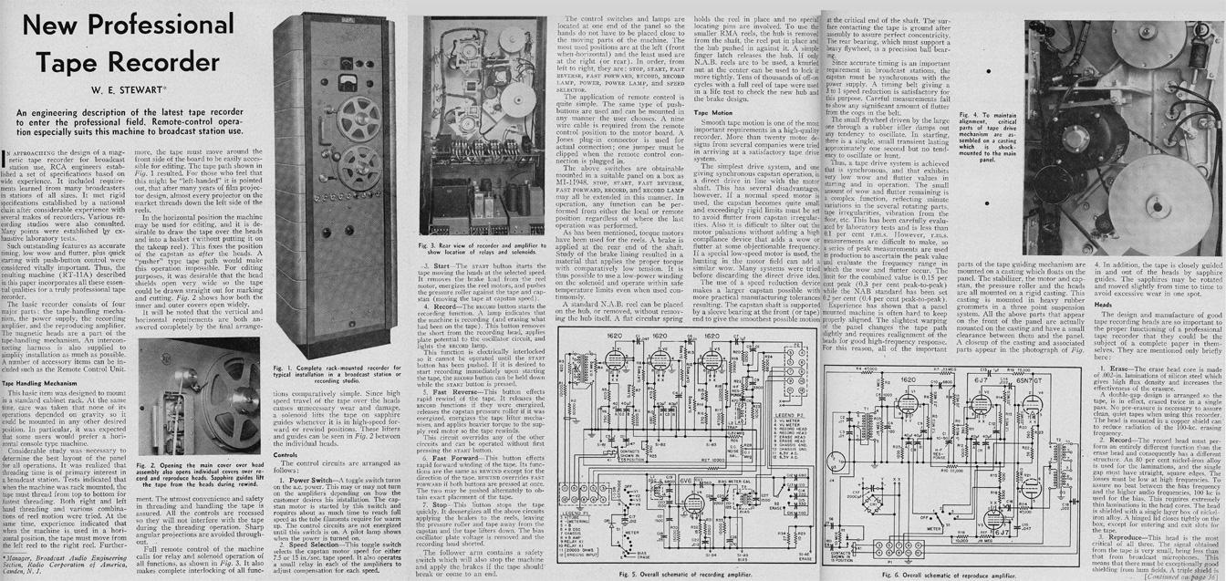 1951 review of an RCA professional reel to reel tape recorder