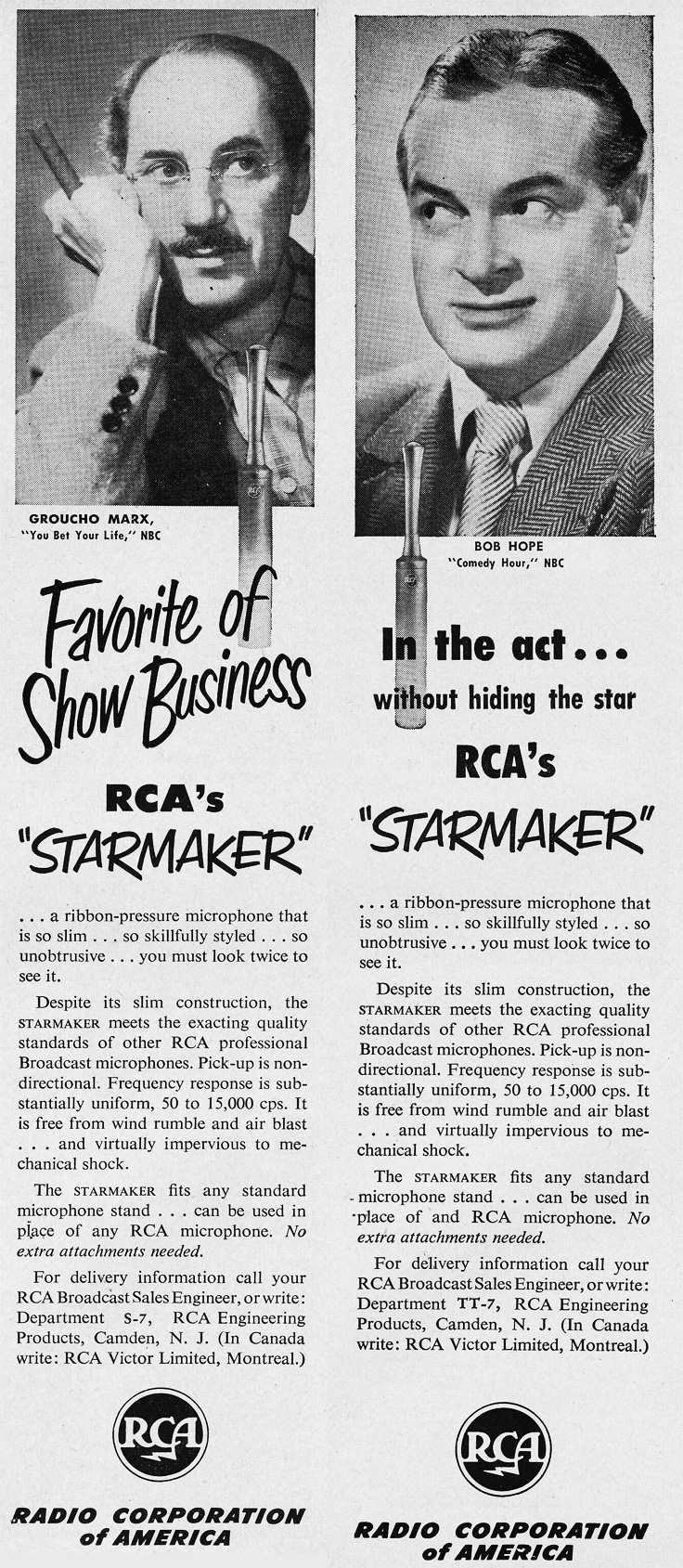 "1951 RCA ad for the RCA ""Star Mics"" featuring Groucho marx and Bob Hope  in Reel2ReelTexas.com's vintage recording collection"