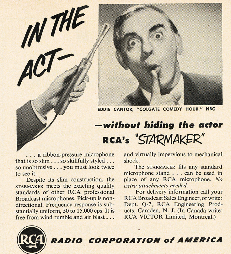"1951 RCA ad for the RCA ""Star Mics"" featuring Eddie Cantor in Reel2ReelTexas.com's vintage recording collection"