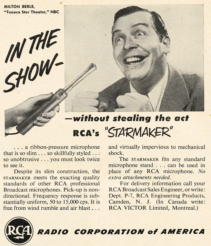 "1951 RCA ad for the RCA ""Star Mics"" featuring Milton Berle in Reel2ReelTexas.com's vintage recording collection"