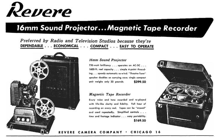 1951 ad for Revere reel tape recorders in Reel2ReelTexas.com's vintage recording collection