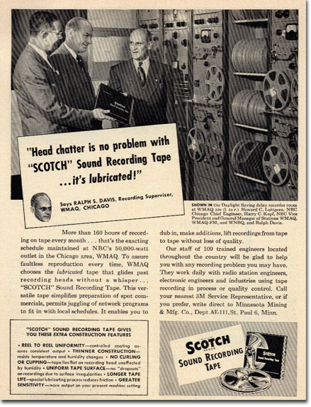 picture of 1951 Scotch recording tape  ad