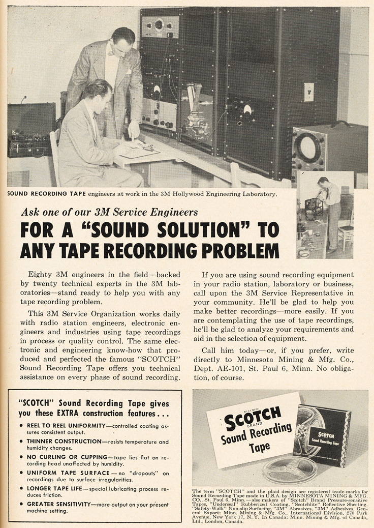 1951 ad for Scotch 3M reel to reel recording tape in Reel2ReelTexas.com's vintage recording collection