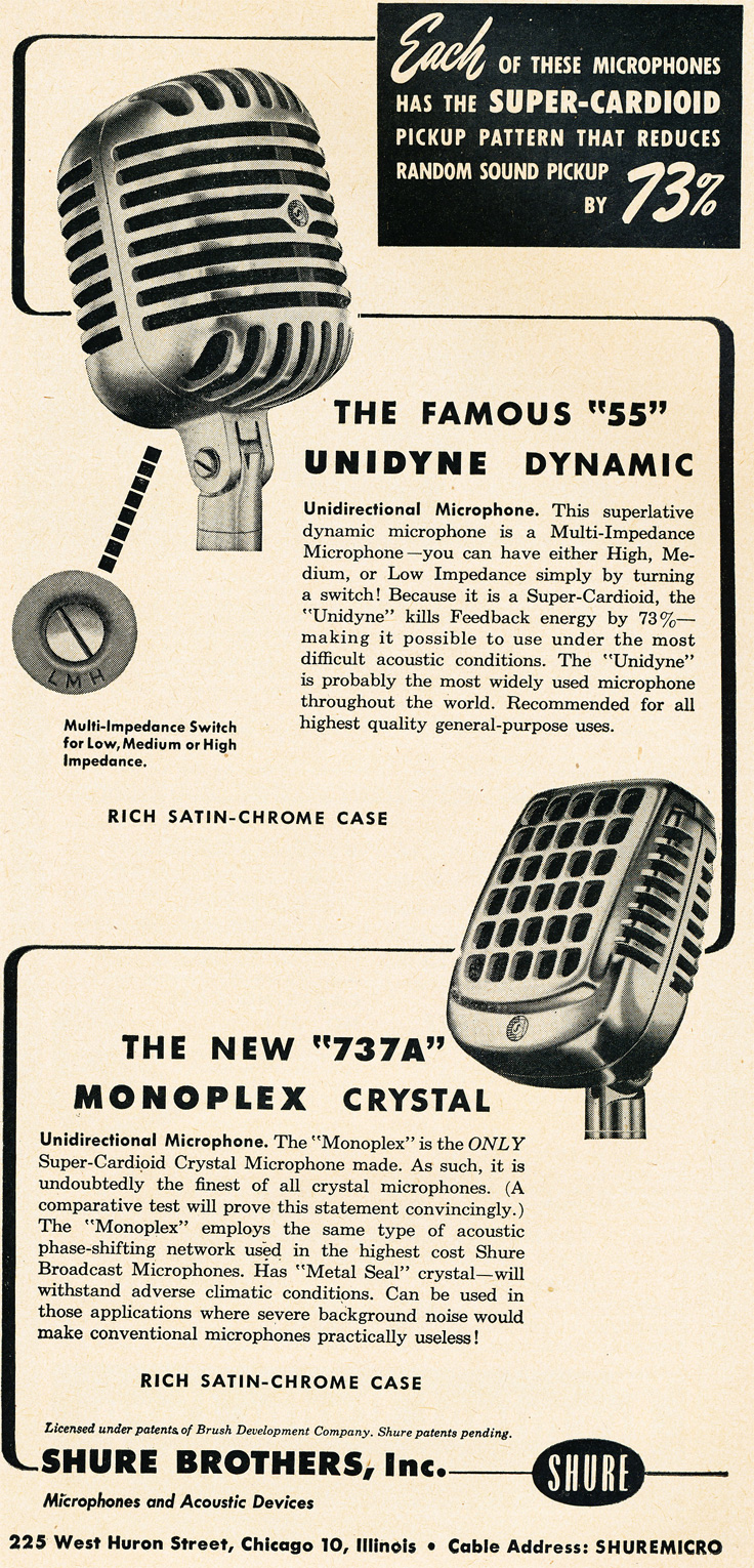 1951 ad for the Shure 55 and 737 microphones in   Reel2ReelTexas.com's vintage recording collection