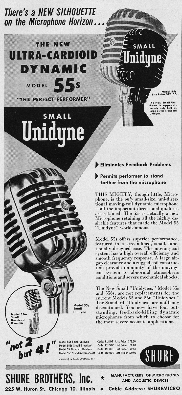 1951 ad for the Shure 55s Ulta-Cardioid Unidyne microphone in Reel2ReelTexas.com's vintage recording collection