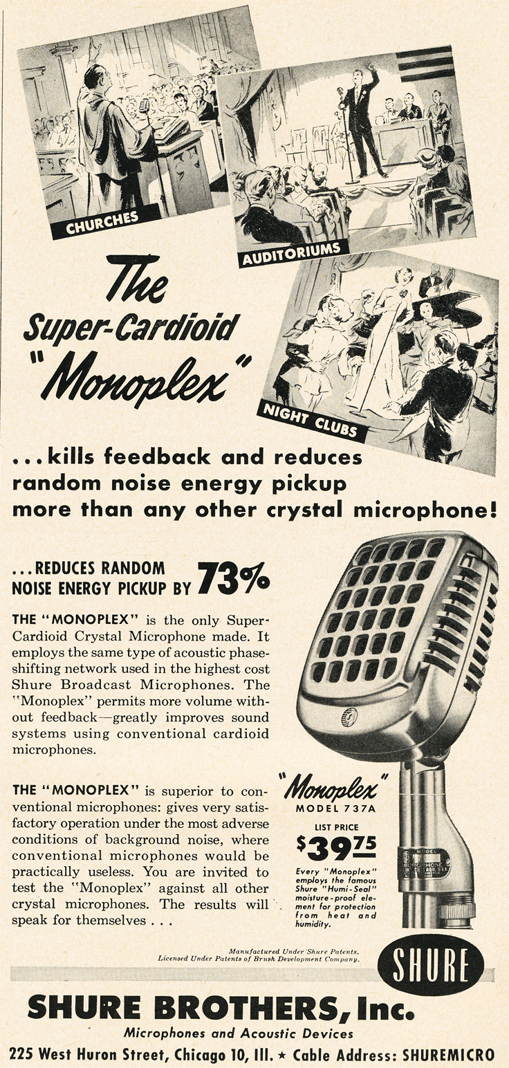 1951 ad for the Shure 737  microphone in Reel2ReelTexas.com's vintage recording collection