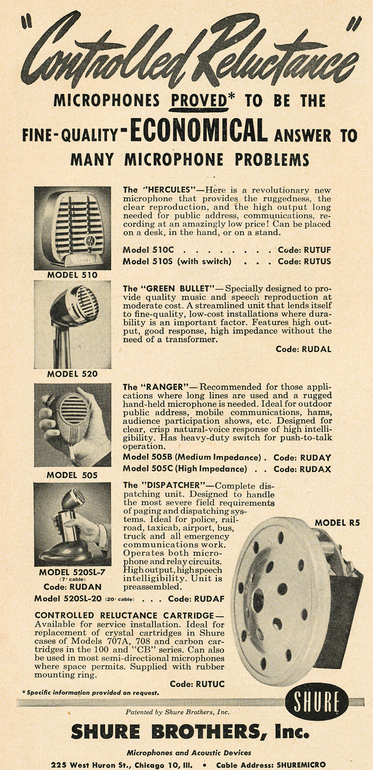 1951 ad for the Shure microphones in Reel2ReelTexas.com's vintage recording collection