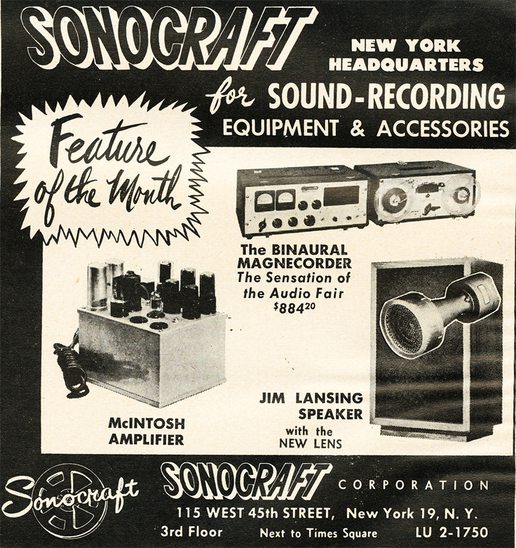 1951 ad for Sonocraft featuring