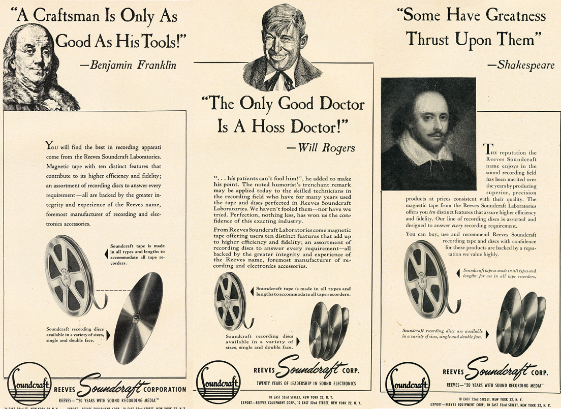 1951 ad for Reeves Soundcraft reel to reel recording tape featuring Benjamin Franklin,Will Rogers and Shakespeare in   Reel2ReelTexas.com's vintage recording collection