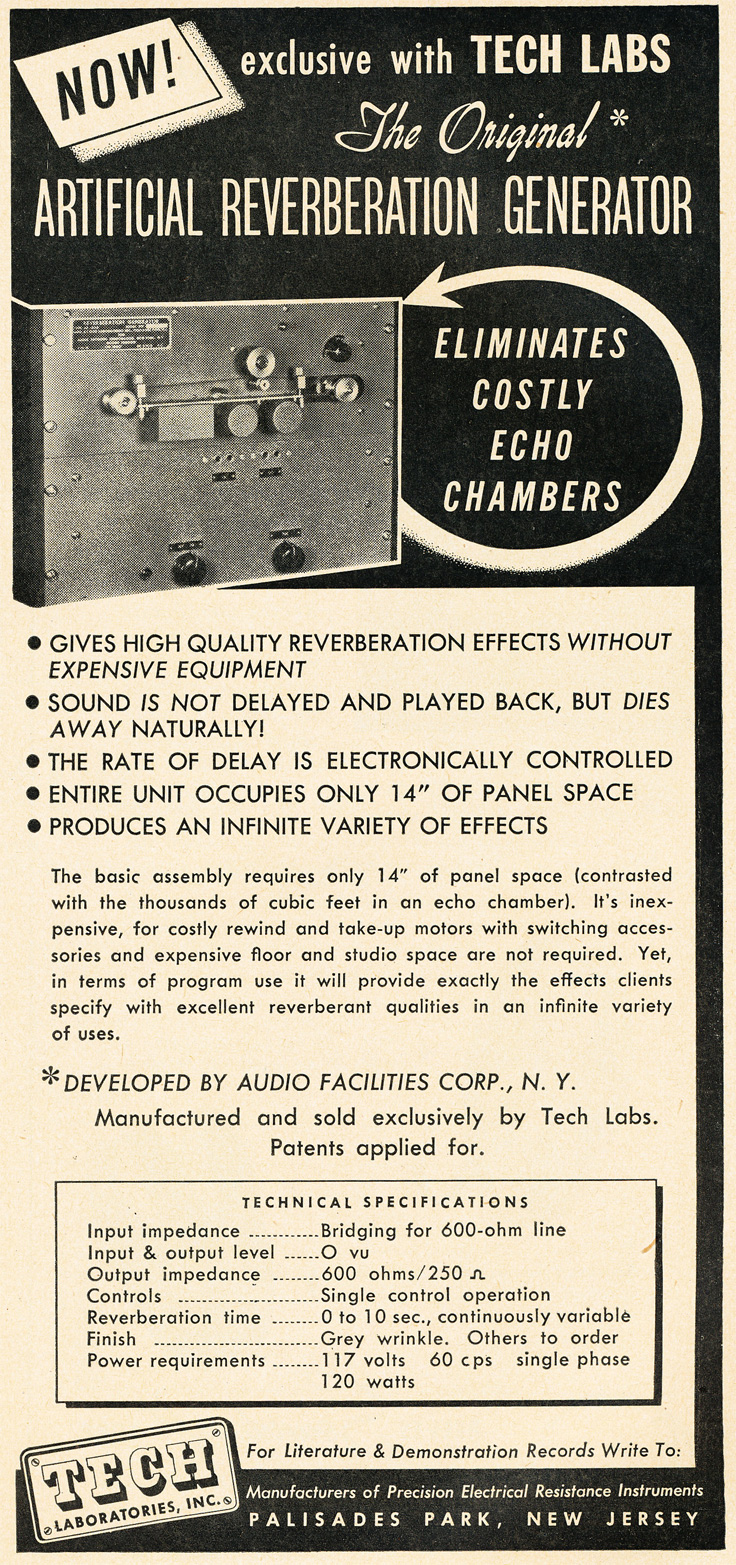 1951 ad for tech Labs reel tap reverb in   Reel2ReelTexas.com's vintage recording collection